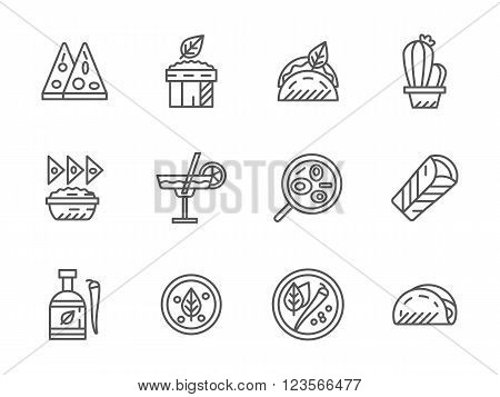 Mexican menu for street food, restaurant. Dinner and lunch. Ethnic food. Collection of black line style vector icons. Elements for web design and mobile.