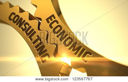 Economic Consulting on the Mechanism of Golden Metallic Gears. Economic Consulting on Golden Cogwheels. Economic Consulting - Illustration with Lens Flare. Economic Consulting - Concept. 3D Render.