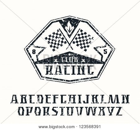 Serif font and racing emblem with shabby texture. Graphic design for t-shirt. Black print on white background