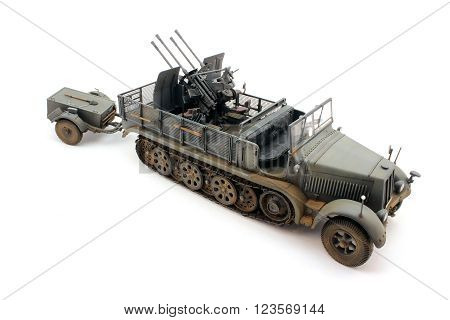 A scale model of a German half-track traction
