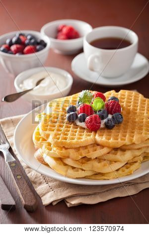 waffles with creme fraiche and berries for breakfast