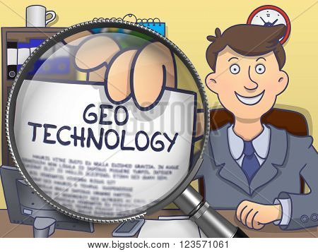 Geo Technology. Smiling Businessman Sitting in Office and Showing Concept on Paper through Lens. Multicolor Doodle Illustration.