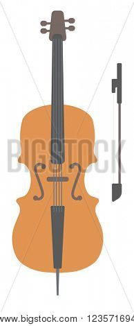Wooden cello with bow