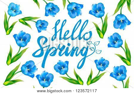 Hello Spring Greeting Card. Hand Drawn Illustration With Wood Background Effect. Hand Drawn Flower W