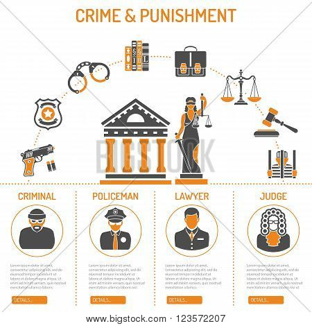 Crime and Punishment Vector Concept with Flat Icons for Flyer, Poster, Web Site, Advertising Like Thief, Policeman, Lawyer, Judge, Lady Justice and Court House.