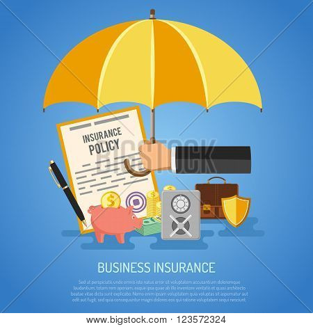 Business Insurance Concept for Poster, Web Site, Advertising like Umbrella, Policy, Money and Briefcase.