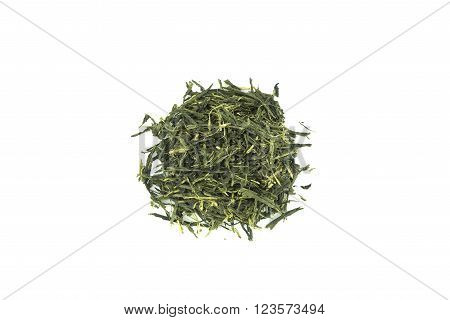 Green Tea (Sencha) isolated  on white background.