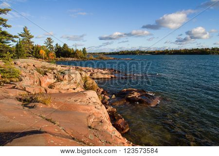 Red granite rock formation at Georgian Bay Killarney Provincial Park Ontario  Canada