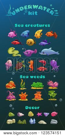 Cute cartoon underwater icons set, vector aquarium game ui assets
