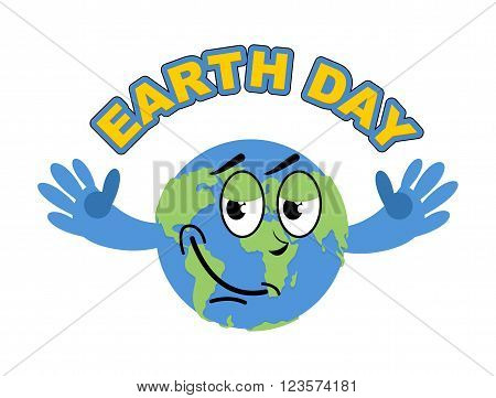 Earth Day. Cheerful Globe Spread His Arms In An Embrace. Sweet Earth International Earth Day Celebra