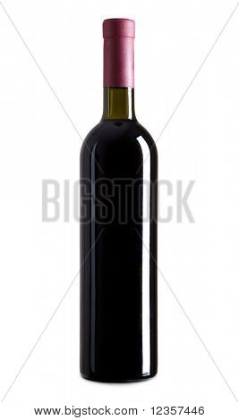 Red wine bottle isolated over white background