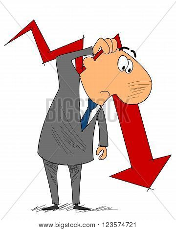 Vector illustration of a frustrated businessman with graph