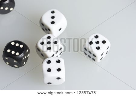 Dice. Throwing the dice during the game. Cubes of white and black in bulk on a white background.