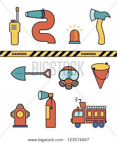 Fire-fighter elements set collection, vector illustration icons.
