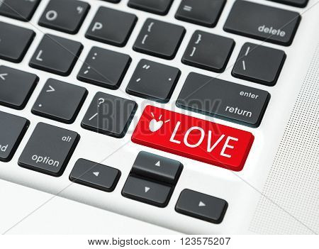 Red Love button keyboard (love online concept)