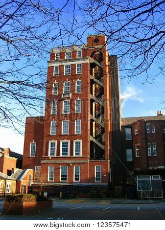 Tall traditional apartment building near Cambridge Court in Liverpool (England, UK)