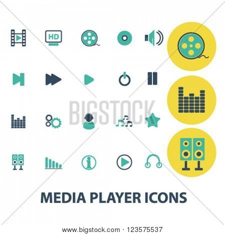 media, audio, video player icons
