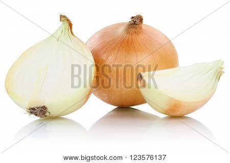 Onion Onions Slice Slices Vegetable Isolated On White