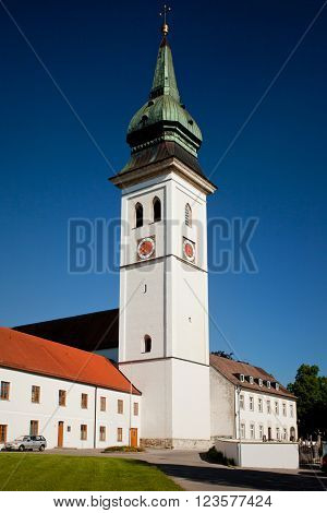 ROTTENBUCH GERMANY - JUNE 18: The tower of the Rottenbuch Abbey church (Kloster Rottenbuch) in romanesque style on june 18 2013 in Rottenbuch Germany.