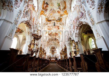 ROTTENBUCH GERMANY - JUNE 18: Interior of the Rottenbuch Abbey church (Kloster Rottenbuch) in romanesque style on june 18 2013 in Rottenbuch Germany.