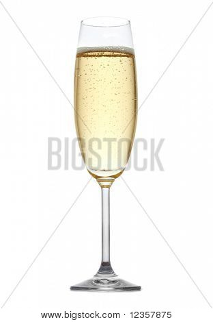 A glass of champagne, isolated on a white background.