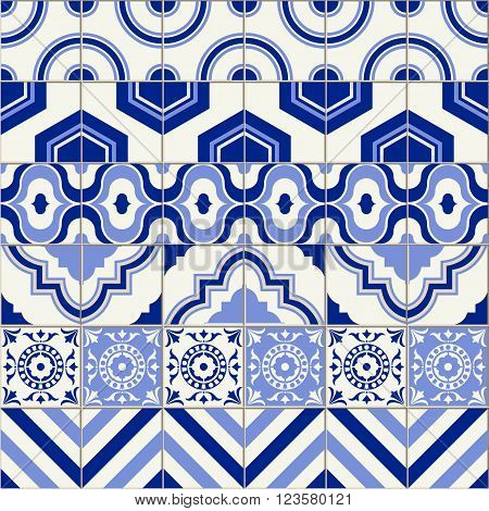Stylish mega seamless pattern patchwork mix of six Moroccan tiles in trendy shades of blue.
