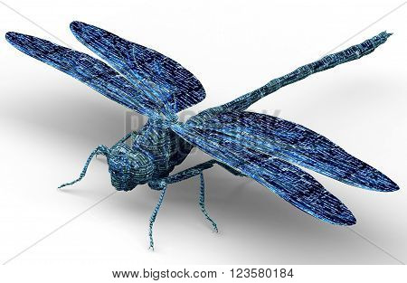 xray image of an insect isolated on black with clipping path. 3d illustration
