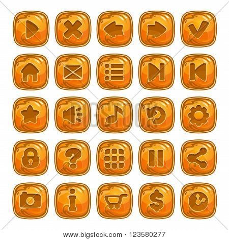 Cartoon orange square buttons with different game icons, vector assets for GUI design
