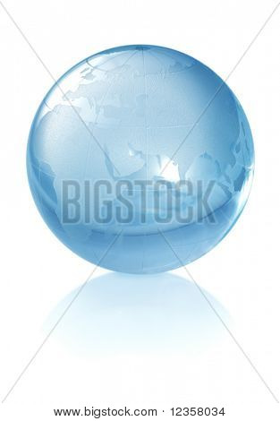 Crystal globe on white background