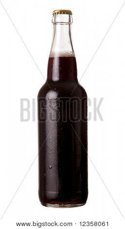 Bottle of dark beer on white background