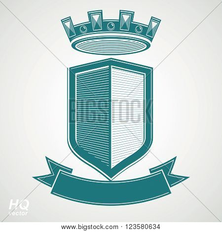 Heraldic Royal Blazon Illustration - Imperial Striped Decorative Coat Of Arms. Vector Shield With Ki