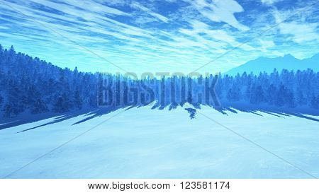 Freezing Winter Scene Pine Forest 3D Illustration