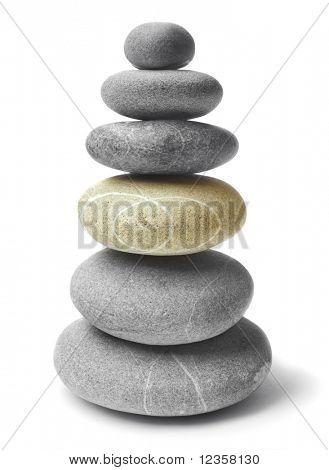 Balanced  Zen stones on white background