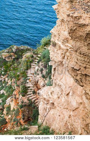 Coastal Cliff With Old Stone Stairway, Kaliakra