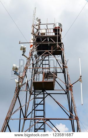 Radio Tower With Transmitters And Receivers