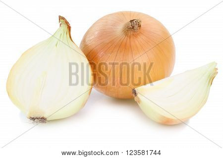 Fresh Onion Onions Slice Slices Vegetable Isolated On White