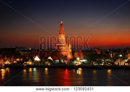 Wat Arun at twilight time. Buddhist temple located along the Chao Phraya river in Bangkok, Thailand