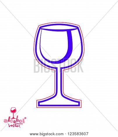 Vector Goblet – Alcohol Drink Theme Illustration. Elegant Wineglass Isolated On White, Winery Emblem