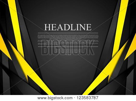 Black and yellow corporate tech striped graphic design. Vector brochure template background
