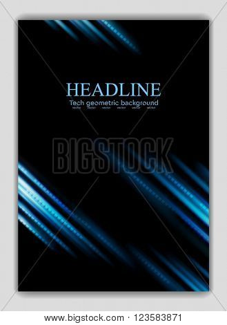 Abstract blue glowing stripes flyer design. Vector striped background illustration