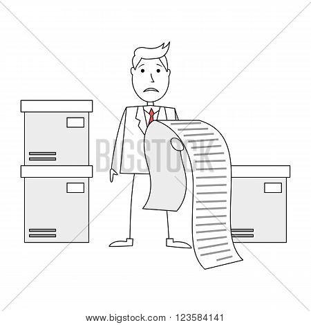 Illustration of cartoon businessman worried of huge bill