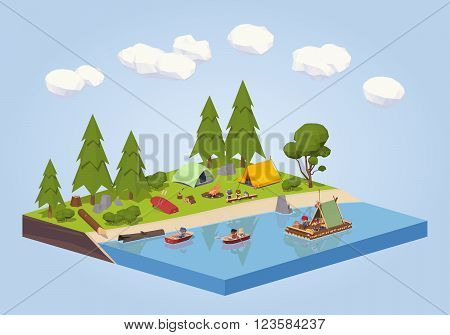 Campsite near the river. 3D lowpoly isometric vector concept illustration