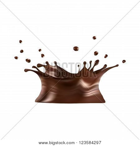 Hot chocolate splash with drops, vector illustration: gradient mesh. eps10.