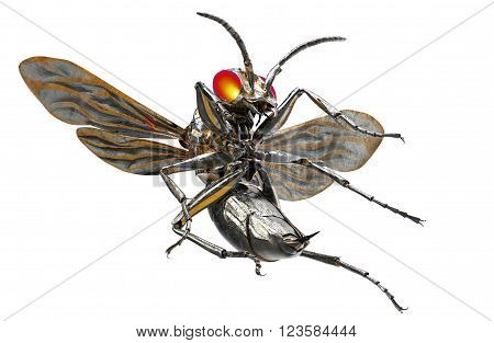 Metal Robot Insect Isolated On White With Clipping Path, 3D Illustration