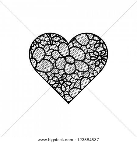 Heart shape with hand drawn floral ornament. Black color.