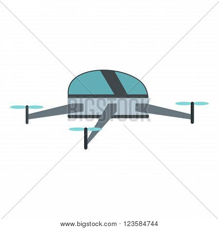 Drone vector icon in flat style white background