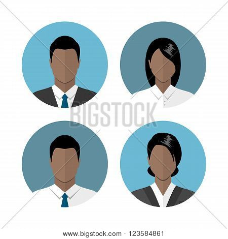 Business people icons isolated on white background. African american ethnic people avatars. Circle avatar collection. Modern flat style design
