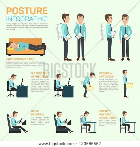 Vector elements of improving your posture. Infographic eps 10