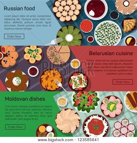 Vector flat illustration of russian, belarusian, moldovan molnational dishes. Borscht, okroshka, rye bread, blini and lemon, meat and potato, bay leaf, eps 10