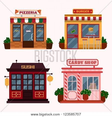 Vector illustration of  buildings that are restaurants, cafe, fast food. Italian pizzeria, american burger shop, Japanese sushi, candy shop. Eps 10